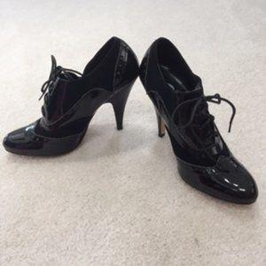 If Carrini Black Retro High Heel Lace Up Oxford -8
